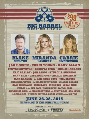 Blake Shelton, Miranda Lambert and Carrie Underwood to Headline 3-day event at Woodlands of Dover