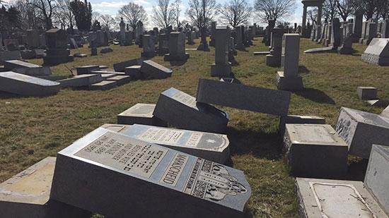 Jewish Tombstones Vandalized in Philadelphia Mt. Carmel; 2 Police Die in Crash; Leg Found In River